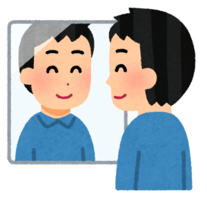鏡を前に話している人の画像